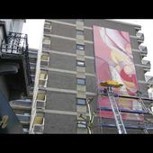 In process - 16m high Guillaume Bottazzi's painting in Brussels at Jourdan square