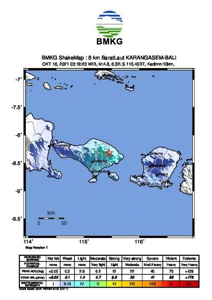 Bali - Tectonic earthquake of M 4.8 and localization near the Agung - Doc. BMKG - one click to enlarge