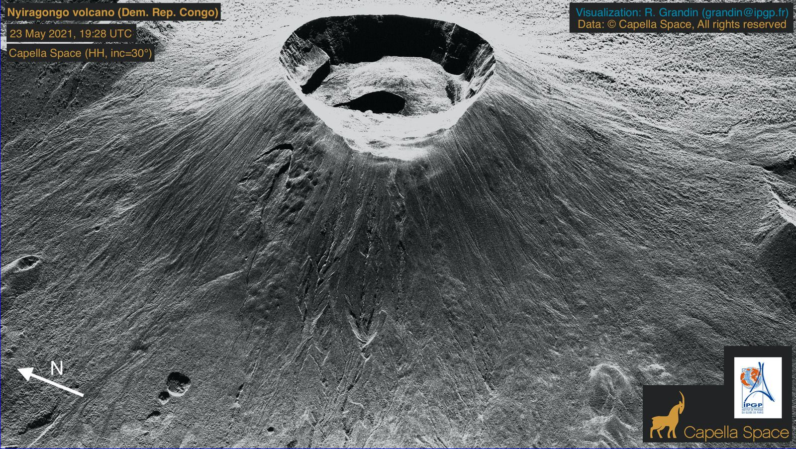 Nyiragongo - Modifications to the summit crater - 23.05.2021 / 19:28 - Doc. Capella Space / IPGP