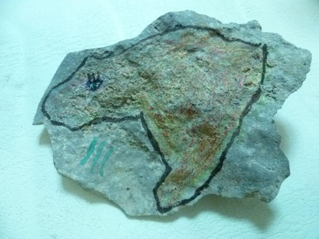 école primaire Georges bastide, cournonterral (groupe du mardi et du vendredi): dessiner sur une pierre comme les artistes préhistoriques!