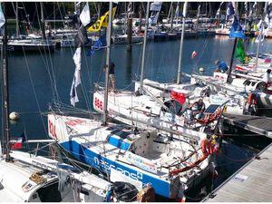 263 - Mini Transat  Douarnenez - Lanzarote - Pointe-à-Pitre  Les 6.50  2015 : ambiance de départ au Port-Rhu Douarnenez photos GeoMar
