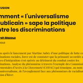 """Comment """" l'universalisme républicain """" sape la politique contre les discriminations - AOC media - Analyse Opinion Critique"""