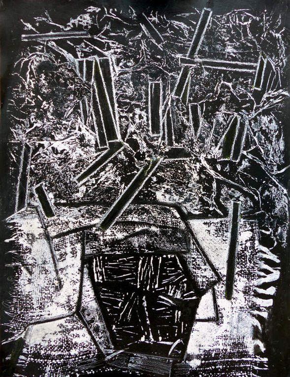 3 compositions de Sylvie Sciancalepore (dessin, monotype, collage)