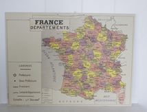 Carte de France des départements réedition style Vintage