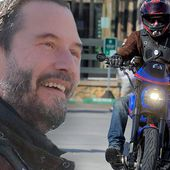 Keanu Reeves discusses his Arch Motorcycle with admirers in Malibu