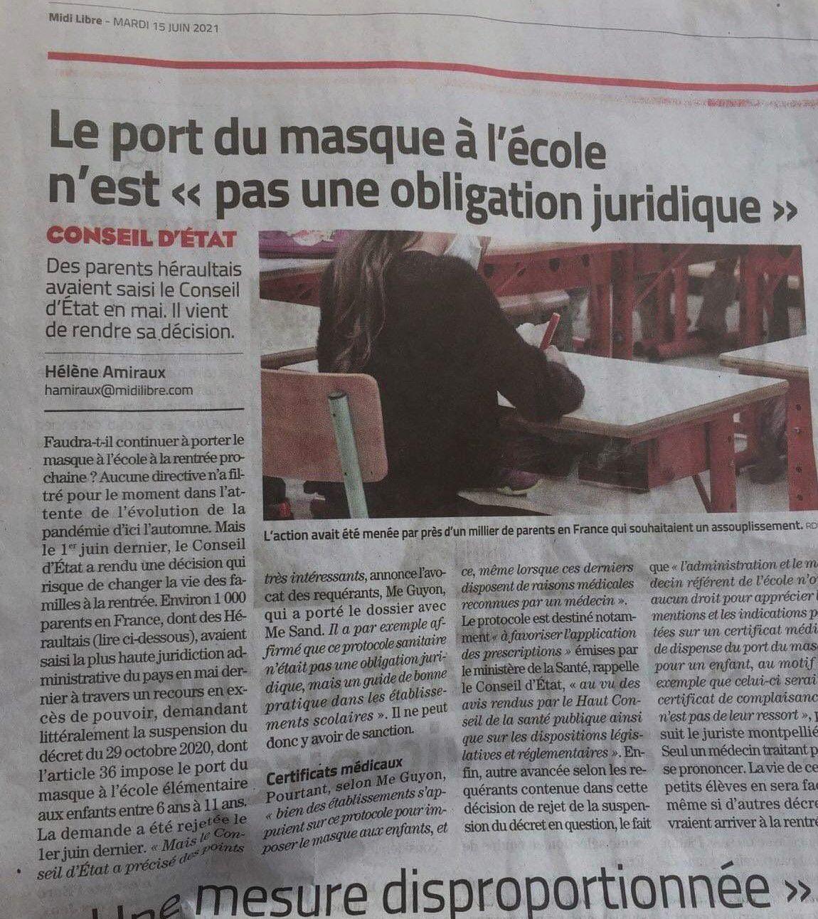 """Le port du masque à l'école n'est """"pas une obligation juridique"""" précise le Conseil d'État"""
