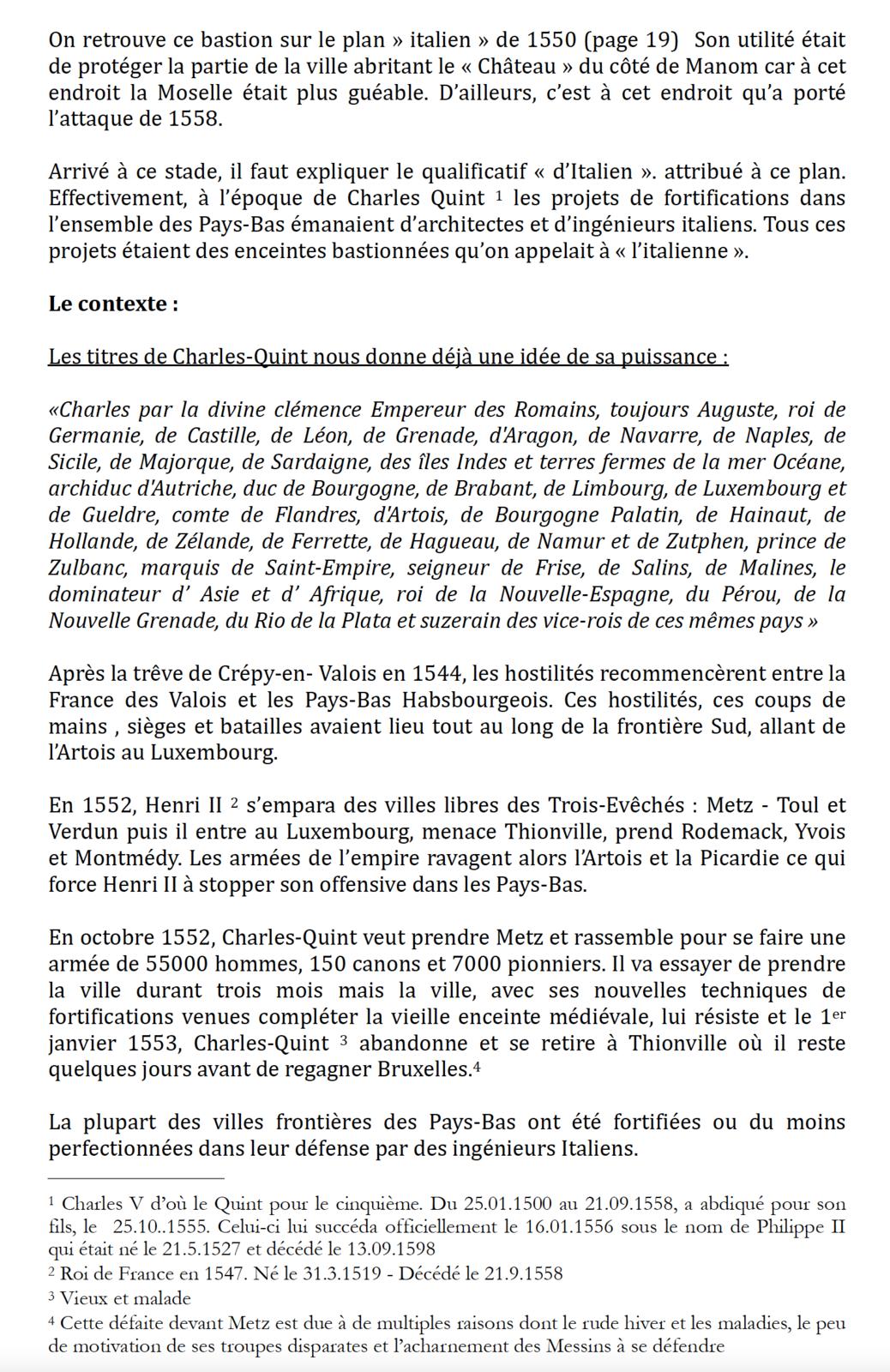 """Thionville - Les trois enceintes  (Le début de  la troisième enceinte """"bastionnée"""")"""