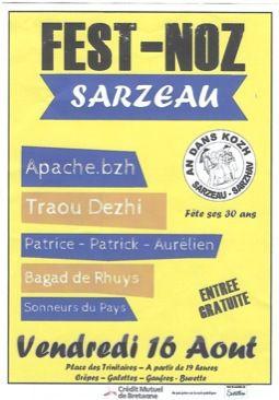 Rendez-vous Fest Noz  le  16 août Place des Trinitaires à Sarzeau à partir de  19 heures