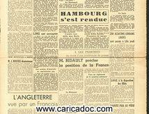 «Jonction russo-britanique sur la Baltique Hambourg s'est rendue», La Croix du Nord, 4/5/1945.