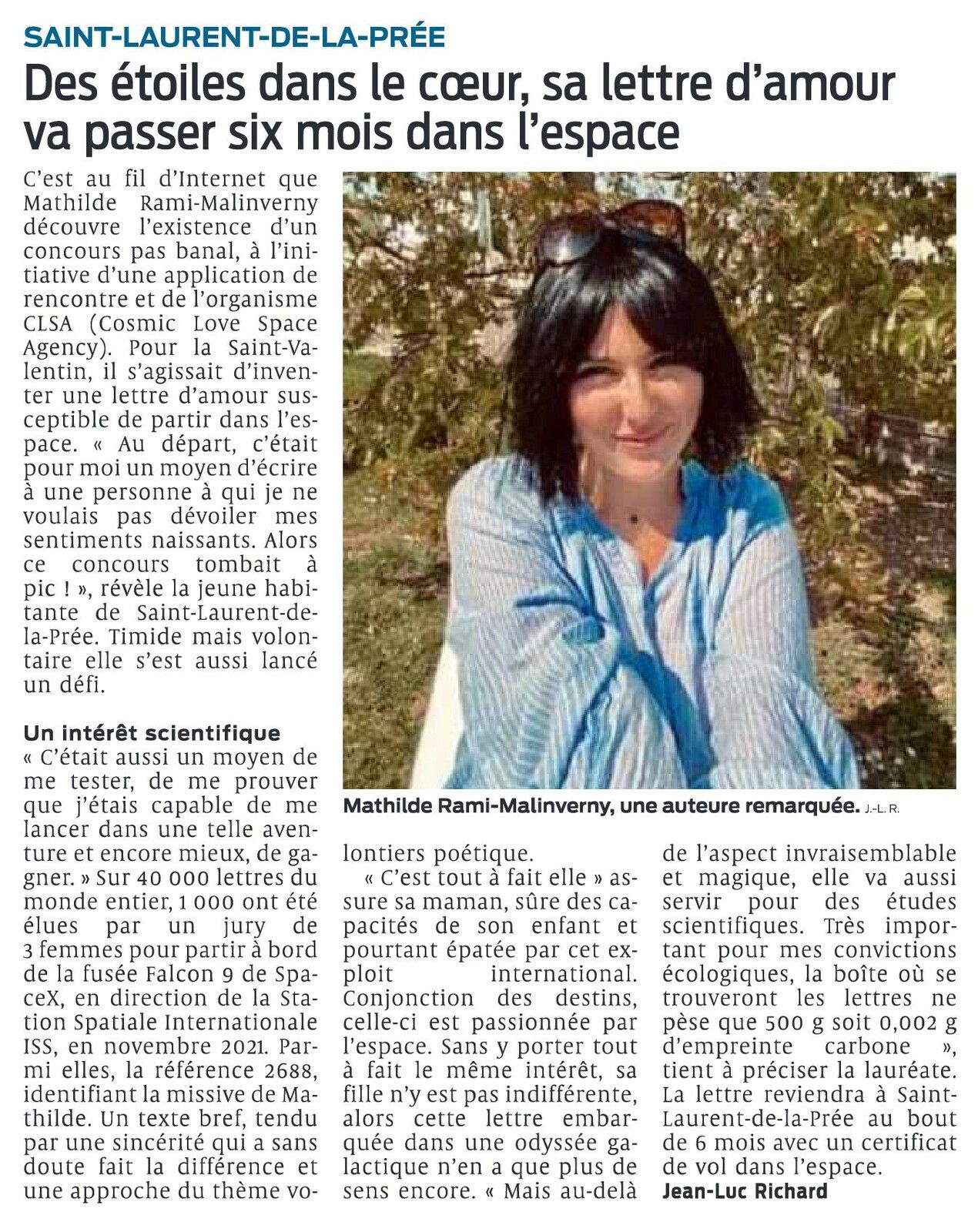 ARTICLE SUD OUEST - MATHILDE UNE AUTEURE REMARQUEE