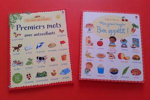 """Mon grand imagier """"Bon appétit"""" et Premiers mots avec autocollants - Editions Usborne"""
