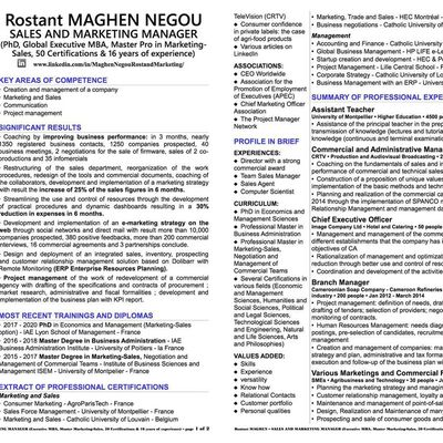 CV Rostand MAGHEN NEGOU, Sales and Marketing Manager (Global Executive MBA, Master's degree in Marketing-Sales, 50 certificates and 17 years of experience)