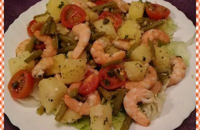Salade chaude aux crevettes