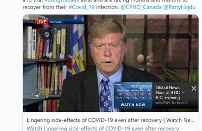"Emission 7 septembre -GlobalNews.ca - Canada :  ""Thank you  @DrBonnieHenry  for finally acknowledging #LongCovid and that #LongHaulers exist and are taking months and months to recover from their #Covid_19 infection."""