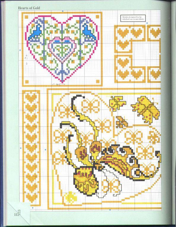 Grilles 81: biscornus, cœurs et marque-page.
