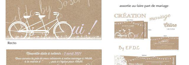 carton report mariage (COVID) de Céline & Laurent ... thème champêtre, tandem