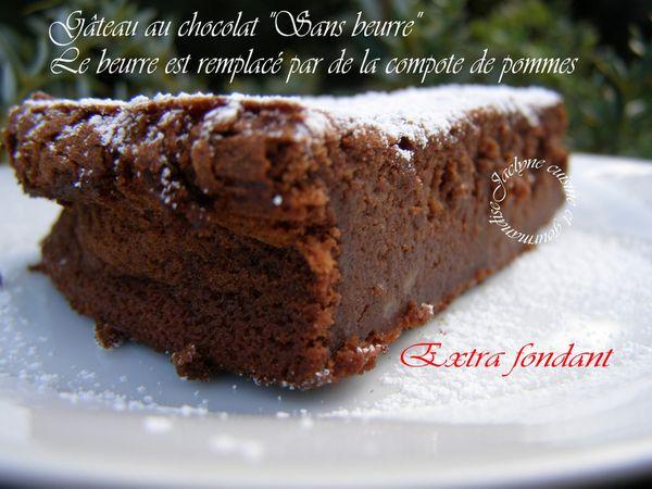 Fondant au chocolat sans beurre! De la compote de pommes le remplace *Recette dénichée sur le journal des femmes* Jaclyne www.cuisineetgourmandise.fr
