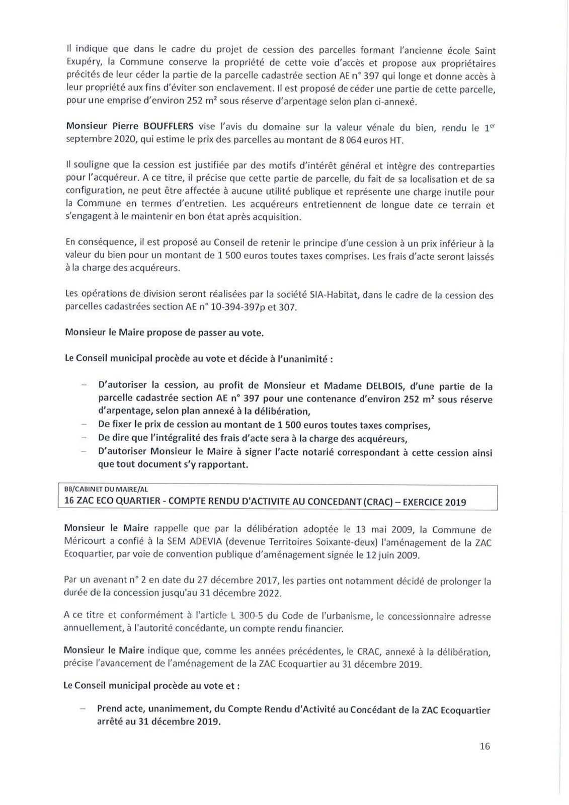 Conseil municipal de Méricourt du 25 novembre 2020 : le compte-rendu officiel est en ligne