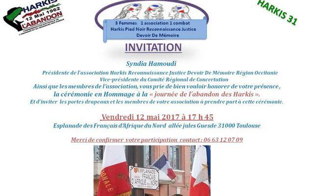 Commémoration abandon des harkis le Vendredi 12 mai 2017 à Toulouse (31)