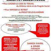 Rendez-vous à Besançon pour les 5 et 9 avril contre la loi El Khomri