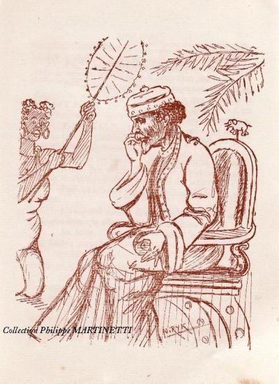 "Caricature de J-F Gallini en ""empereur du Sahel"" (1922), coll Philippe Martinetti."