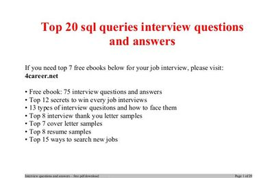 Leading Sql Interview Questions And Answers