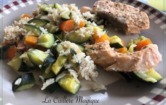 Pavés de saumon, riz aux courgettes et aux carottes au Cookeo