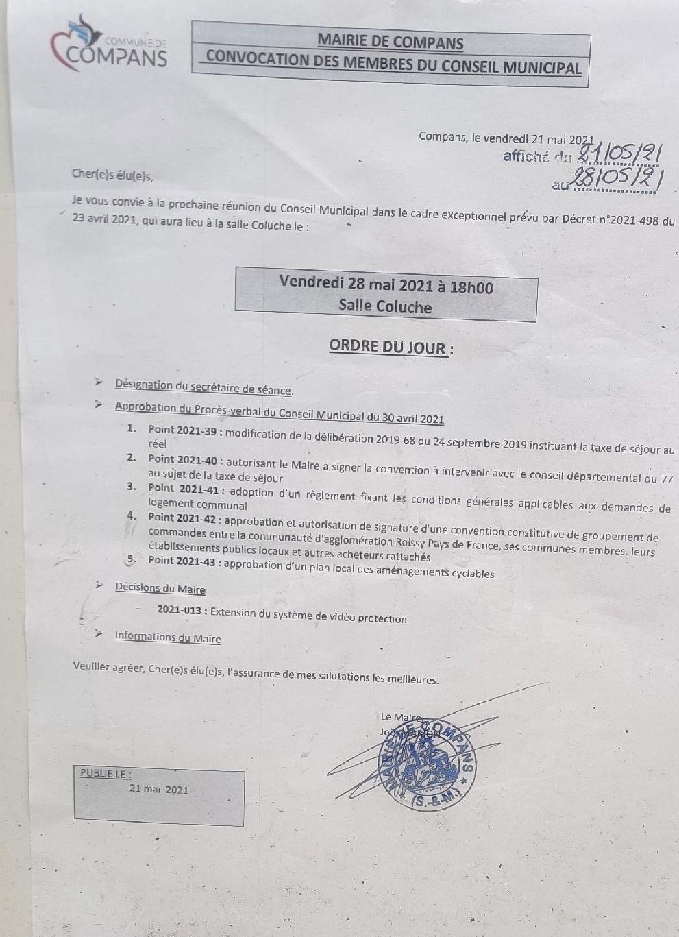 Conseil du 28 mai 2021