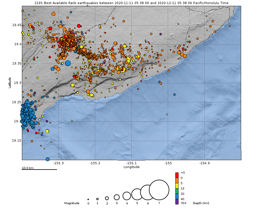 Kilauea - map showing the locations of earthquakes during the past month. Bottom: Depth of earthquakes (circles) over the past month. The size of the circle represents the magnitude and the color indicates the depth - Doc. HVO / USGS