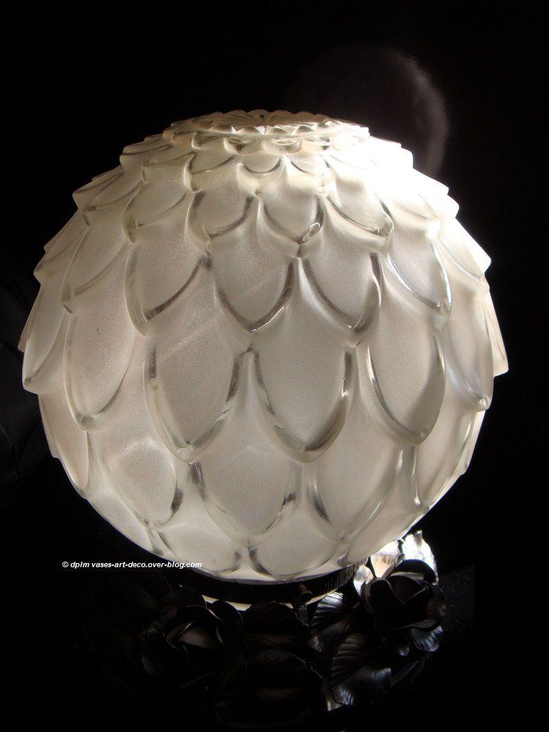 """Veilleuse, lampe """"Artichaut"""" verre blanc"""