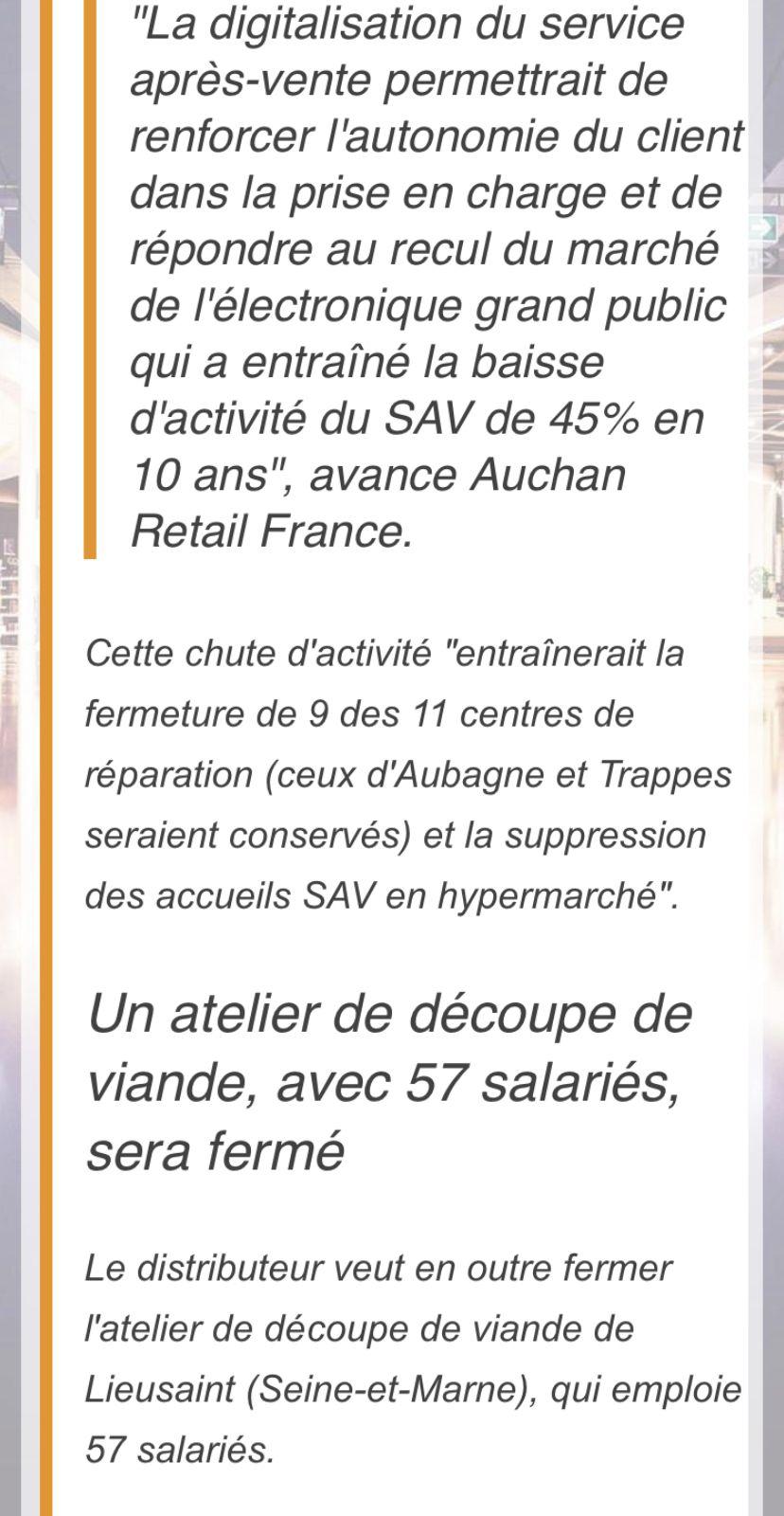 Auchan s'apprête à supprimer 1475 emploies en France