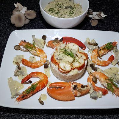 Duo homard et gambas et sa sauce aux pleurotes