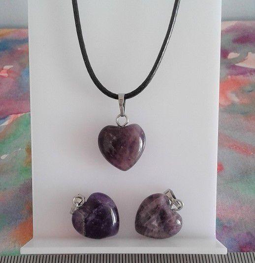 Pendentif coeur amethyste pierre precieuse violet avec cordon noir et fermoir mousqueton,fait mains en france,cadeau fete anniversaire noel,lithotherapie meditation bien etre spirituel