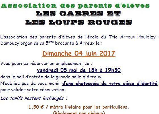 Arreux - Brocante des parents d'élève du 4 juin 2017 - Réservations