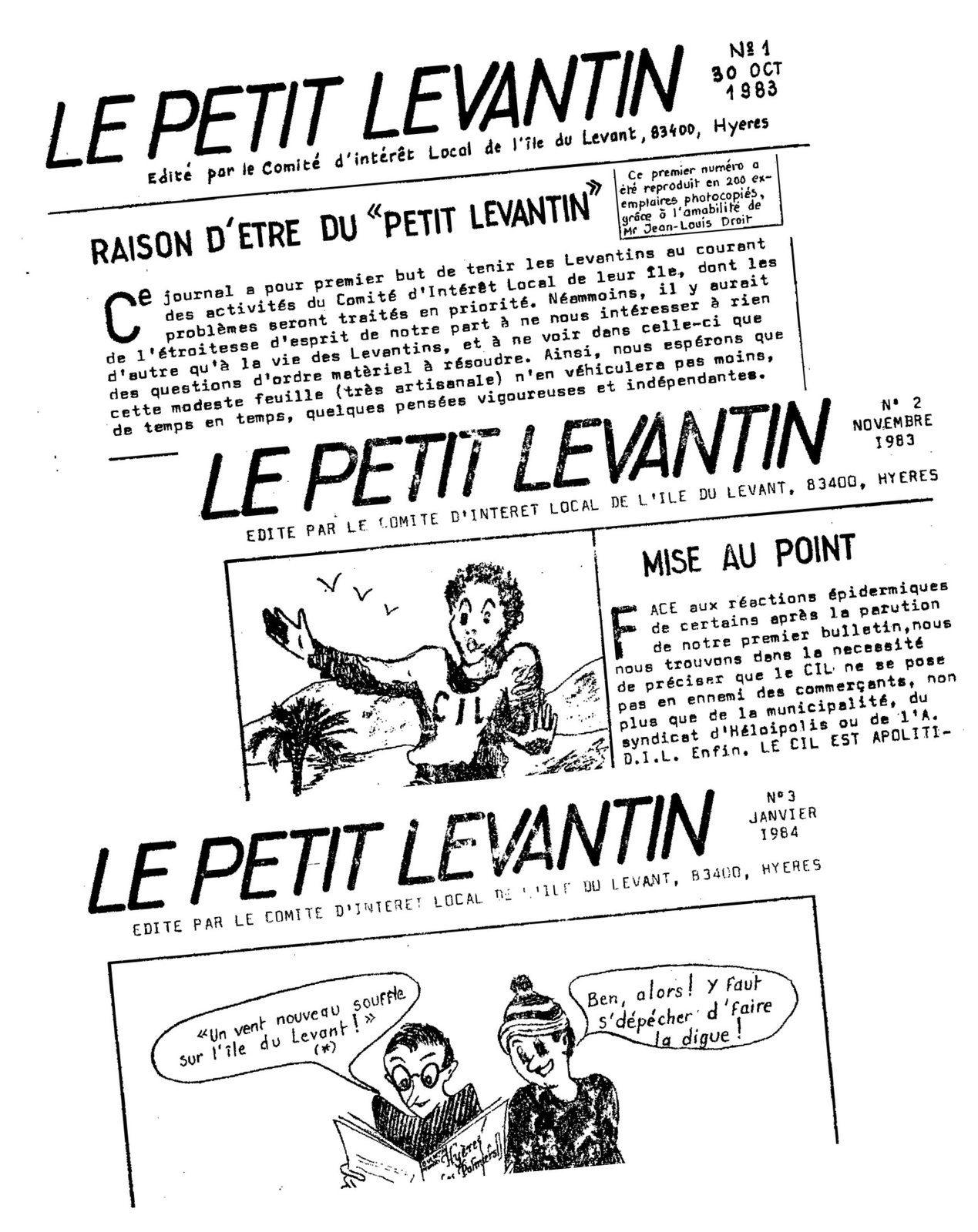 """1983-1984 les premiers numéros du """"Le Petit Levantin"""""""