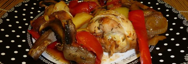 pilon de poulet au four et ses légumes