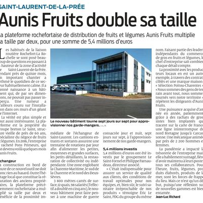 """Article Sud-Ouest - """"Aunis fruits double sa taille"""""""