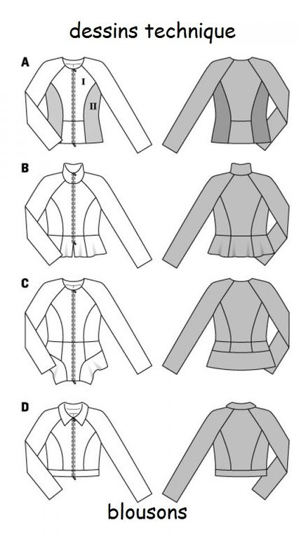 les divers vestes burda 7140.dessin technique et tableau mesures.