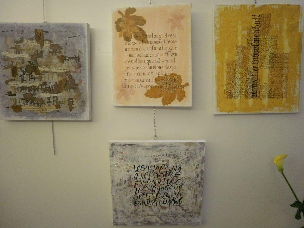 En avant première les très belles  toiles (calligraphie) de Marie Minvielle passionnée par les signes laissés par l'homme.