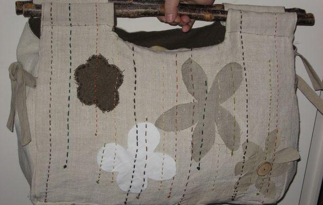Sac Cabas naturel : lin et anses en bois
