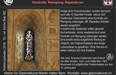 Reparatur /Unterhalt fuer Kirchenfenster Atelier HALTER in Bern
