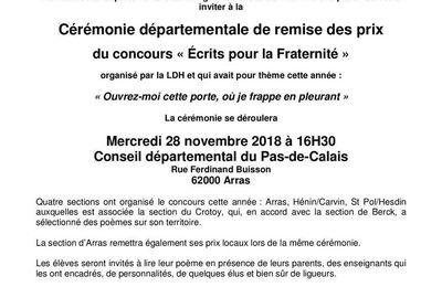 Concours de poésie 2018 de la LDH : invitation à la remise de prix départementale le 28 novembre à Arras