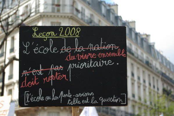 Manifestation lycéens, enseignants et parents, Paris, France