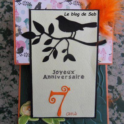 Carte anniversaire 7 ans  oiseaux/plume