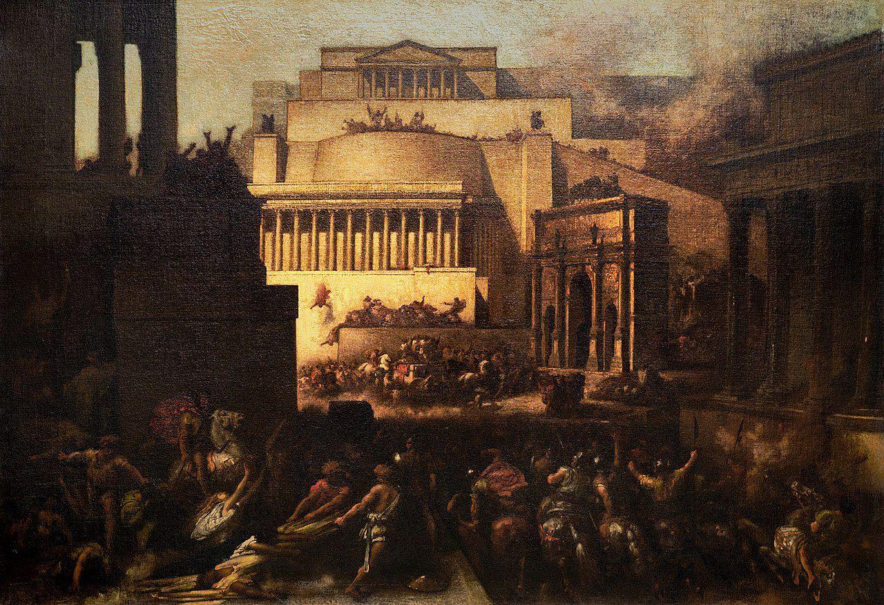 Le sac de Rome par les Gaulois (390 ap. J.-C) par François-Nicolas Chifflart (1863). La différence, c'est que le sac de Rome par les Gaulois était réel et que celui du Capitole de Washington était une intoxication médiatique (cf Paul Craig Roberts)