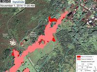 Cartes des coulées le 29.10, 31.10 et 01.11.2014 (dernières évolutions en rouge vif) - un clic pour agrandir - doc HVO-USGS / Digital Globe