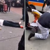Man, 25, wearing medical mask passes out on the sidewalk in Queens