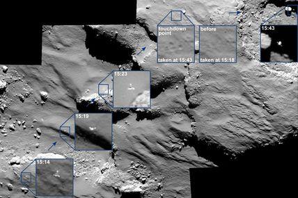 Sur la comète, Philae a du ressort : Sur Rosetta, OSIRIS immortalise ses rebonds…