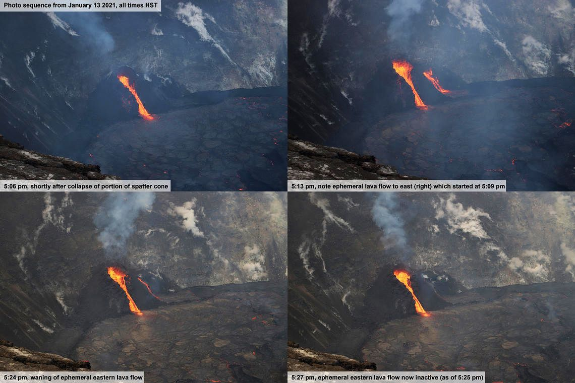 Kilauea, Halema'uma'u West Vent - Brief (less than 20 minutes) changes in activity near the vent when part of the west vent projection cone collapsed on January 13, 2021. The first photo was taken seconds after the collapse at 5:06 p.m., showing the main lava spillway. Three minutes later, at 5:09 p.m., a second vent to the east (right) sent a new flow of lava to the side of the projection cone. This ephemeral (short-lived) flow remained active until 5:25 p.m. - photo N. Deligne / USGS