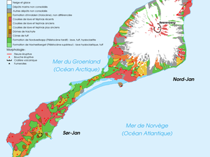 Geological map of Jan Mayen and its 2 volcanoes / Doc. Rémih / under the terms of the GNU Free Documentation License version 1.2 - Location of the earthquake / doc EMSC - a click to enlarge